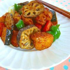 彩り野菜たっぷりのバルサミコ酢鶏♪