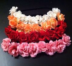 Beautiful flower crown headband perfect for all ages! Can also be worn as a Bun Crown! Can be worn for all different hairstyles! Flowers are