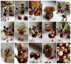 Herfst, knutselen met kastanjes