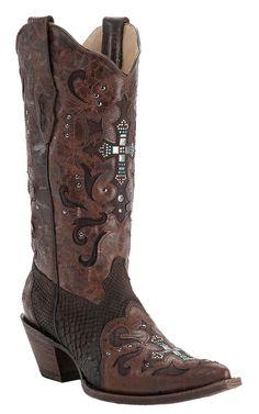 Corral® Ladies Brown Cognac w/ Python & Crystal Cross Snip Toe Western Boots | Cavender's Boot City