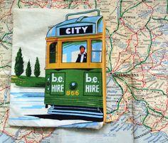 Retro tea towel pencil case, Melbourne tram pencil case, Zipper pouch, Retro tram makeup purse,Tram passport pouch,Tram souvenir pencil case by RetroMementos on Etsy
