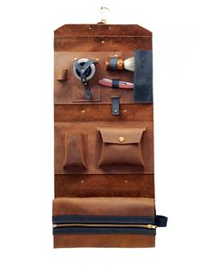 Men's Leather Shaving and Toiletries Roll Case | Divina Denuevo