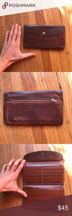 Brown Leather Coach Billfold Wallet Brown Coach Leather Wallet Billfold. Well worn w/ scratches. Coach Bags Wallets