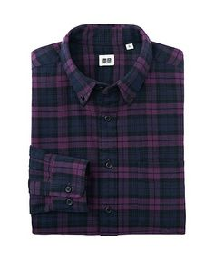 UNIQLO MEN FLANNEL CHECKED LONG SLEEVE SHIRT   $29.90 COLOR Purple SIZE Medium