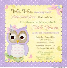 Cute lavender & sunshine yellow colors come together to celebrate a sweet baby owlet whoo is coming soon... personalize these colors, the wording & even the graphics to suit your own celebration as needed.