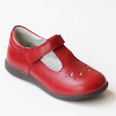 L'Amour Girls G518 Perforated Red T-Strap Mary Janes