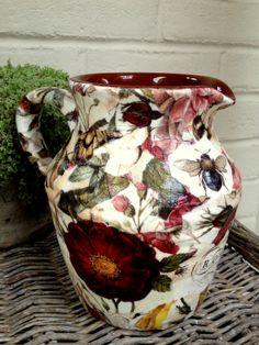 Botanical Decoupage on pitcher