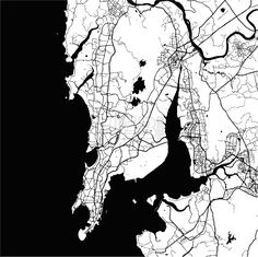 Download from $0.99, Mumbai, India, Monochrome Map Artprint, Vector Outline Version, ready for color change, Separated On White...,  #administrative #area #atlas #bombay #border #capital #cartography #city #detail #downtown #geography #graphic #harbor #highways #illustration #image #india #interstate #macro #map #monochrome #Mumbai #neighborhoods #outline #roads #sign #states #streets #symbol #tourism #travel #trip #united #vacation #vector #view #visit #white