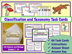Classification and Taxonomy Task Cards.  Set of 64 cards, answer sheet, and teacher answer key.