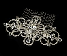 Silver Couture Rhinestone Silver Plated Swirl Bridal Hair Comb 8365