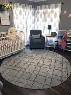 Neutral nursery in a nutshell - project nursery round rug nursery, nursery Round Rug Nursery, Nursery Rugs, Nursery Crib, Girl Nursery, Nursery Decor, Nursery Ideas, Scandinavian Nursery, Grey Furniture, Project Nursery