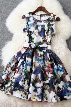 Fashion Organza Slim Butterfly Print Dress