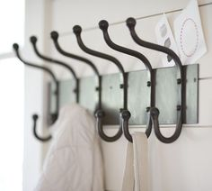 Shop cast-iron row of hooks from Pottery Barn. Our furniture, home decor and accessories collections feature cast-iron row of hooks in quality materials and classic styles. Coat Closet Organization, Entryway Organization, Entryway Hooks, Garage Entryway, Narrow Entryway, Hallway Storage, Entryway Ideas, Door Ideas, Cast Iron
