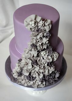 Gorgeous wedding cake with ruffles from Three Little Blackbirds