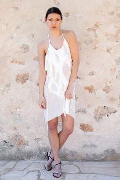 Silk jersey nuno felted halter dress. White nuno by FELTbyNatalie