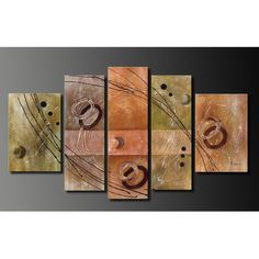 Add a modern and unique twist to your room decor with this five-piece abstract oil painting measuring 68 inches wide by inches high. This art set is hand-painted, gallery-wrapped, and includes mounted hangers for easy home decorating. Hand Painted Canvas, Wood Canvas, Oil On Canvas, Big Canvas, 5 Piece Canvas Art, Canvas Wall Art, Horizontal Wall Art, Oversized Wall Art, Easy Home Decor