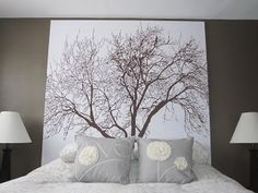 headboard of a shower curtain and a wooden frame