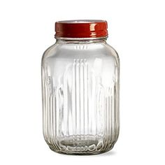 Tag Vintage Glass Jar with Metal Lid, Clear, Medium, 4.5-Cup Capacity