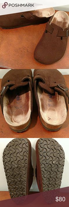 "*Wore once* Birkenstock suede clogs size 37 Birkenstock wore one time. Perfect condition. No stains or scuffs. Still has ""Birk"" stamp showing on soles. Very comfy! Birkenstock Shoes Mules & Clogs"