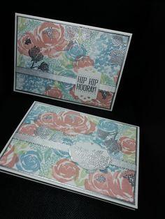 Deze twee kaarten zijn opnieuw door Ingrid Nellen gemaakt. Ze was geinspireerd door een filmpje van collega Melissa van de Bilt die een achtergrond maakte met Beautiful Friendship. 'Samen met jouw kleurencombi konden het niet anders dan leuke kaartjes worden!' schreef ze. #prullekekleurencombinatie #stampinupnederland #Festivepoststampset #stampinupdemonstratrice #kleurencombinatie #echtepostiszoveelleuker #stampinupdemo #prulleke