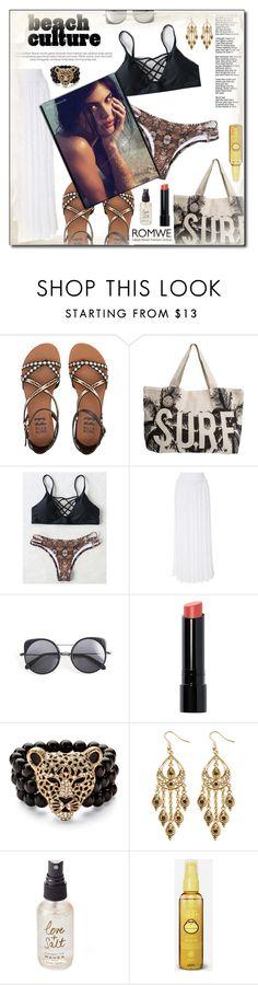 """Bikini from ROMWE"" by lady-of-rose ❤ liked on Polyvore featuring Billabong, Rip Curl, Missoni, Wood Wood, Bobbi Brown Cosmetics, Palm Beach Jewelry, Olivine, Sun Bum, beach and romwe"