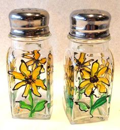 Locally Hand Painted Salt And Pepper Shakers With A Sunflower Design
