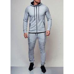 3aa4edcc2830 2018 New Men s Autumn Hoodies Tracksuit Set Male Zipper Pleated Sweatshirt  Sweatpants High Street Jackets Sets M-3XL