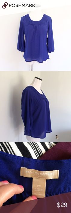 """BANANA REPUBLIC Purple sheer Top petite Gently worn. Purple scallop scoop neck Top with 3/4 sleeves. 100% polyester. Semi sheer. Length 22.5"""". Chest 18.5. Banana Republic Tops"""