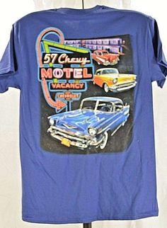 821d5db5f1b8 Chevrolet T-Shirt Blue SS NWOT Gildan M 1957 Chevy Motel | Clothing, Shoes