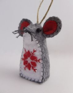 Felt Christmas Mouse Ornament by BananaBugAndZod on Etsy