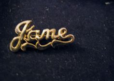 """Signature Monogram Script """"JANE"""" Name Brooch Pin Gold Plated Vintage Jewelry #Unbranded"""