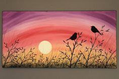 Original acrílico pintura abstracta sobre por PicturesqueFolkart