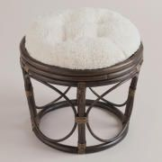 See more detail about Ivory Faux Fur Papasan Stool Cushion..