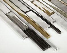 Aluminum Glass Mosaic Tile Suburban for kitchen, backsplash, and feature wall. Mosaic Wall Tiles, Kitchen Wall Tiles, Mosaic Glass, Tile Counters, Backsplash, Countertop Redo, Contemporary Decor, Design, House