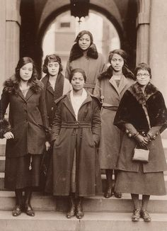 "coolchicksfromhistory: "" The ladies of Delta Sigma Theta Sorority, the University of Pennsylvania's first Black sorority, 1921. Physician Virginia Alexander is the woman on the far left. Attorney Sadie T. M. Alexander is the woman on the far right..."