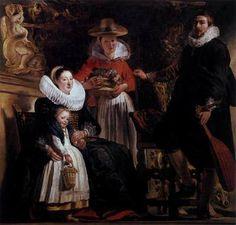 The Family of the Artist - Jacob Jordaens.  c.1621.  Oil on canvas.  181 x 187 cm.  Museo del Prado, Madrid, Spain.