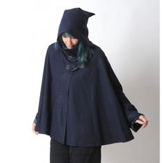 Dark blue Goblin Hood Cape with long flared sleeves, thin wool