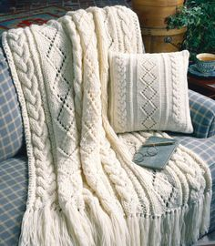 Knitting Pattern Cables and Diamonds Afghan and Pillow Set #ad Knit on size 17 needles with two strands of yarn held together it should be a quick project. Scroll down the linked page to the free craft patterns. http://www.shareasale.com/r.cfm?u=1112880&b=146498&m=19565&afftrack=&urllink=www%2Eleisurearts%2Ecom%2Ffree%2Dpattern%2Dfriday%2Db