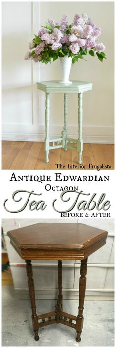Antique Edwardian Octagon Tea Table Before and After | The Interior Frugalista