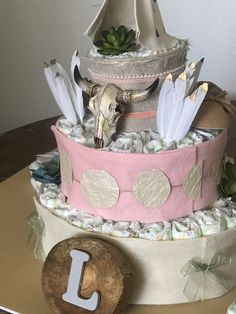 Close up of my southwest meets wildflower diaper cake