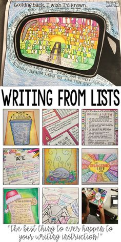 Art therapy activities writing List writing is sure to motivate even your most reluctant writers! 5th Grade Writing, Middle School Writing, Writing Classes, Middle School English, Writing Lessons, Poetry Lessons, Writing Process, Art Lessons, 8th Grade English