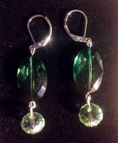 Oval Emerald Green Faceted Lucite Stones with Lt Green by lill8d, $25.00