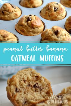 Sky high Peanut Butter, Banana and Oatmeal Muffins with chocolate and peanut butter chips scattered throughout the batter. This one bowl, no mixer required recipe makes delicious muffins in record time! #muffins #breakfast #peanutbutter