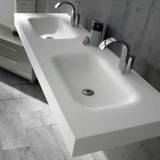 Plan double bowl Corian ® by DuPont ™ Nevada Diy Bathroom Remodel, Bath Remodel, Bathroom Remodeling, Solid Surface, Lavabo Corian, Dupont Corian, Bathroom Furniture, Nevada, Interior Decorating