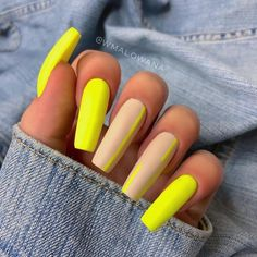 In search for some nail designs and ideas for your nails? Listed here is our list of must-try coffin acrylic nails for fashionable women. Bright Summer Acrylic Nails, Neon Green Nails, Neon Nails, Best Acrylic Nails, Acrylic Summer Nails Coffin, Matte Green Nails, Neon Gel Polish, Summer Nails Neon, Orange Acrylic Nails