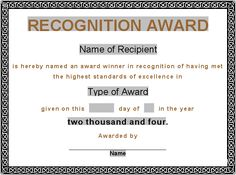 Editable Award Certificate Template Formalaward Awardcertificate