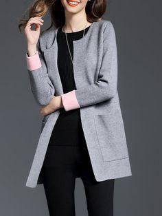 Shop Cardigans - Red Color-block H-line Elegant Cardigan online. Discover unique designers fashion at StyleWe.com.