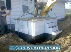 These storm shelters were well thought-out and engineered. The one that doubles as part of the entry way steps and porch for a mobile home … The picture can be found here http://www.ice-pack.com/EP_news/wp-content/uploads/2011/02/SevereWeatherPod.jpg