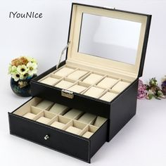 Hot Sale Double-layer 20 Grid PU Leather Watch Display Box Jewelry Storage Organizer Watches Case Collection Organizer Holder