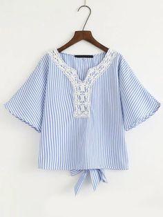 Bell Sleeve Crochet Trim Knot Back Blouse - $17.99. https://www.bellechic.com/deals/449c974294b6/bell-sleeve-crochet-trim-knot-back-blouse